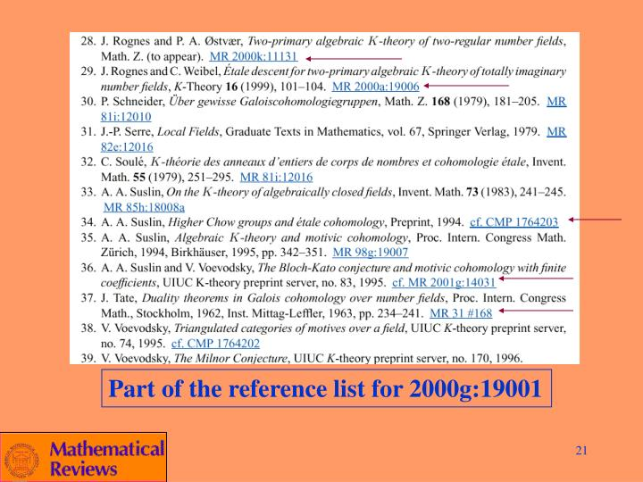 Part of the reference list for 2000g:19001