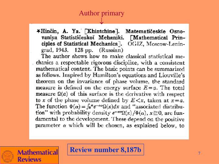 Author primary