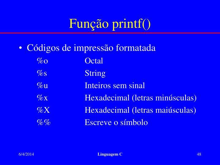 Função printf()