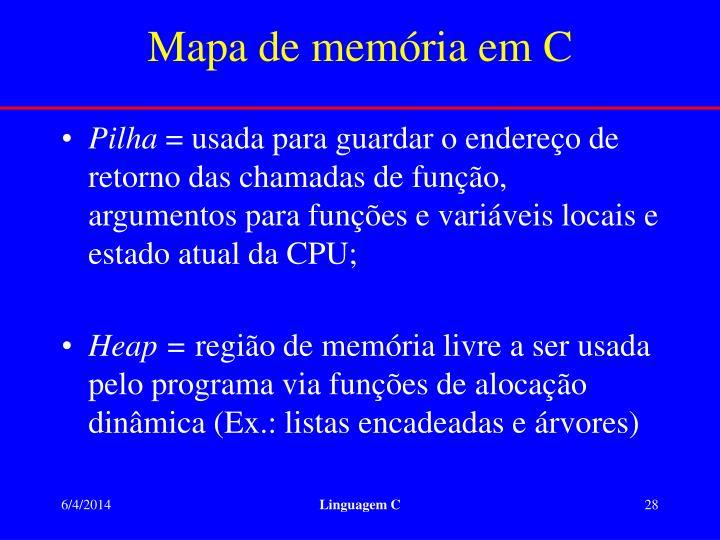 Mapa de memória em C