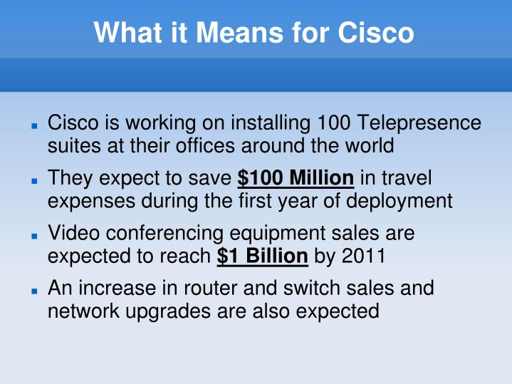What it Means for Cisco