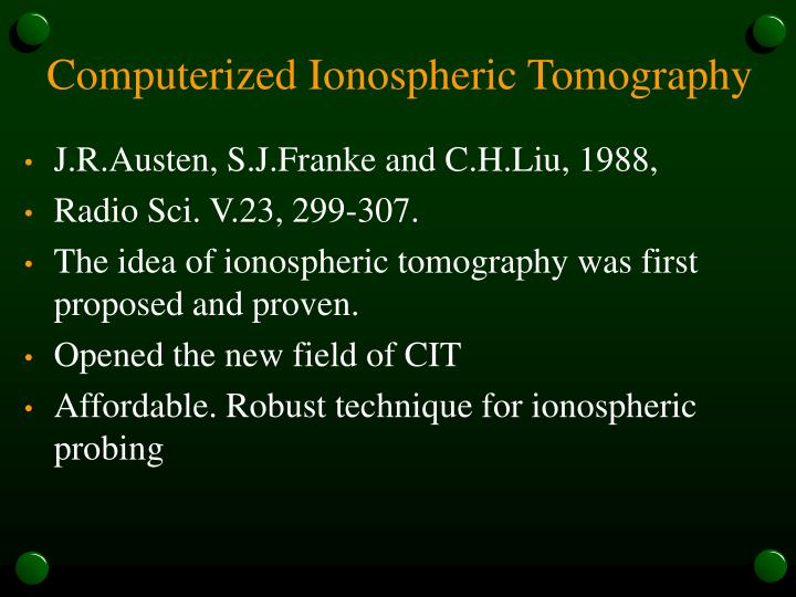 Computerized Ionospheric Tomography