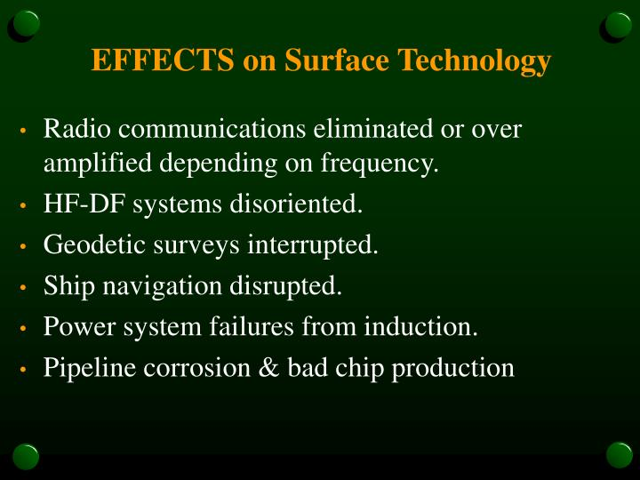 EFFECTS on Surface Technology