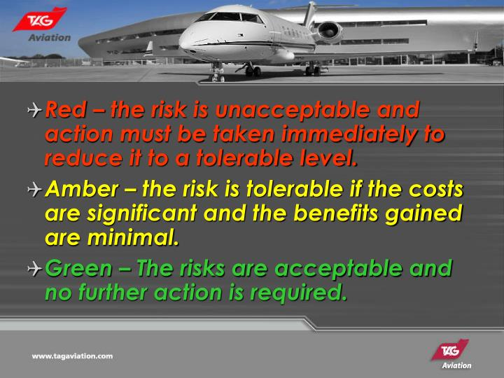 Red – the risk is unacceptable and action must be taken immediately to reduce it to a tolerable level.
