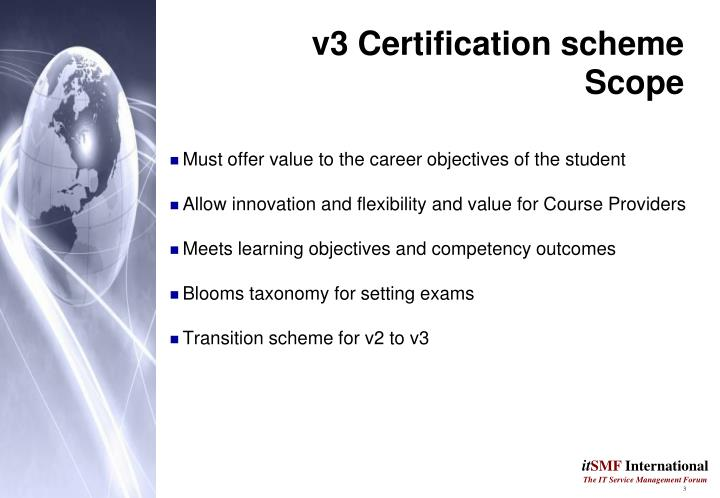 V3 certification scheme scope