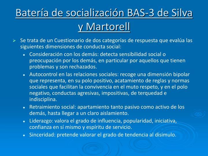 Batería de socialización BAS-3 de Silva y Martorell