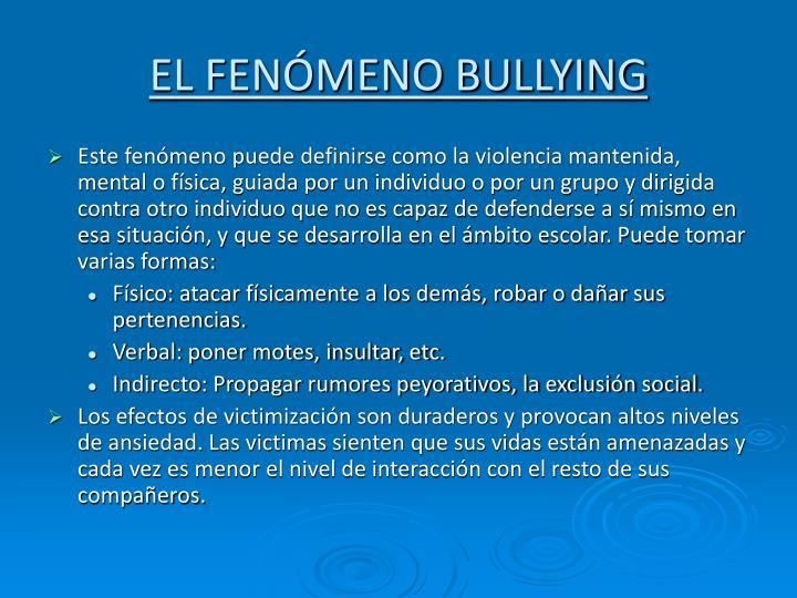 EL FENÓMENO BULLYING