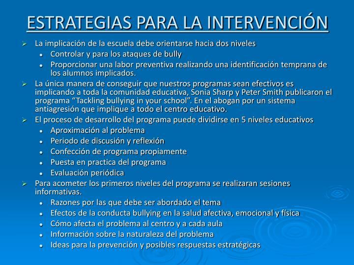 ESTRATEGIAS PARA LA INTERVENCIÓN