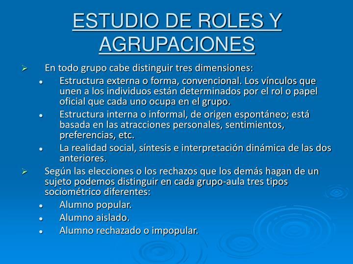 ESTUDIO DE ROLES Y AGRUPACIONES
