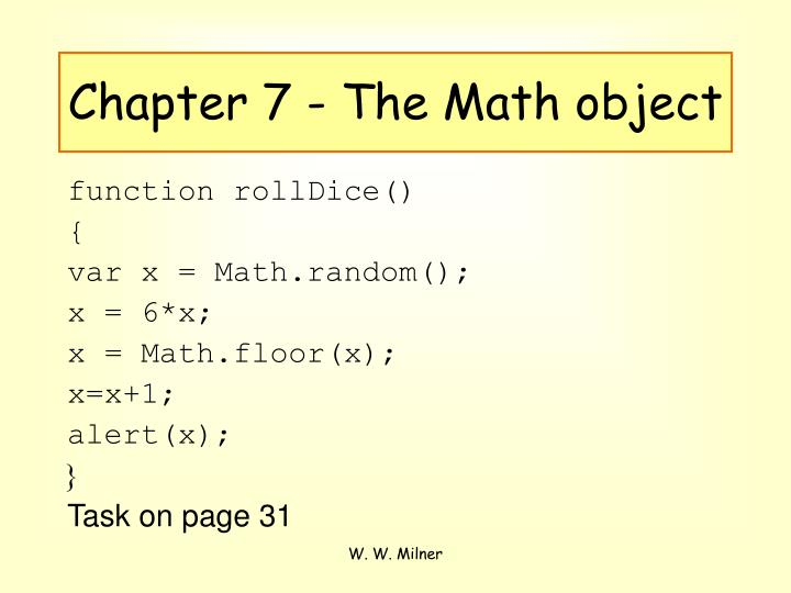 Chapter 7 - The Math object