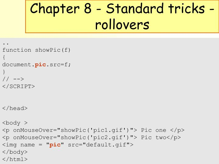 Chapter 8 - Standard tricks - rollovers