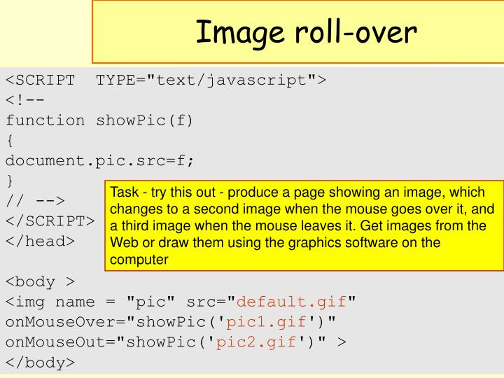 Image roll-over