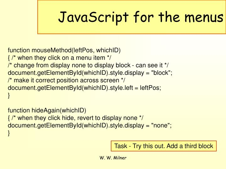 JavaScript for the menus