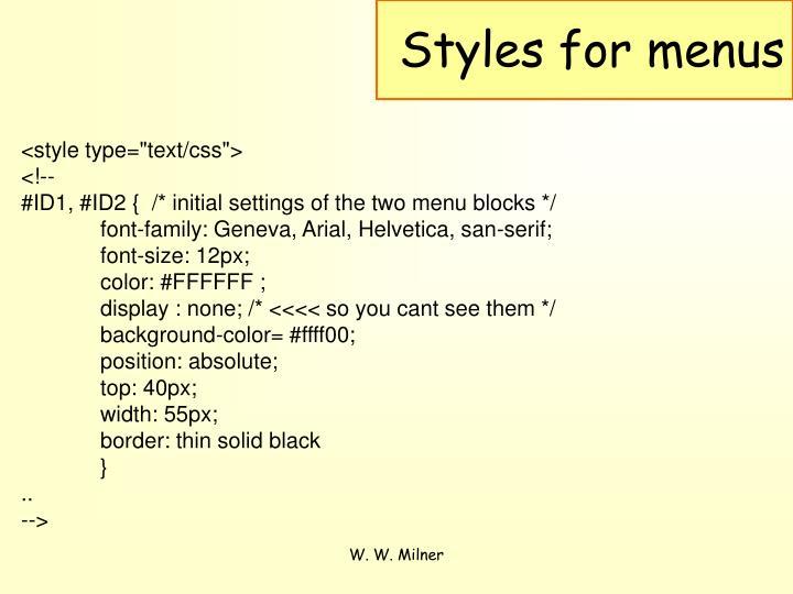Styles for menus