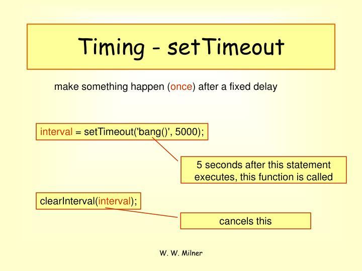 Timing - setTimeout