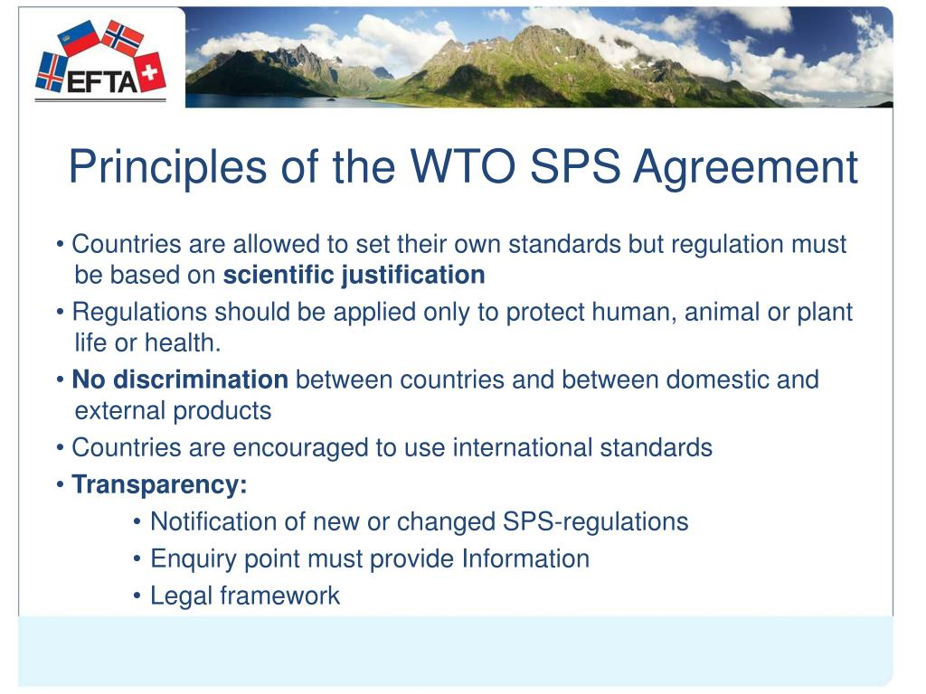 Principles of the WTO SPS Agreement