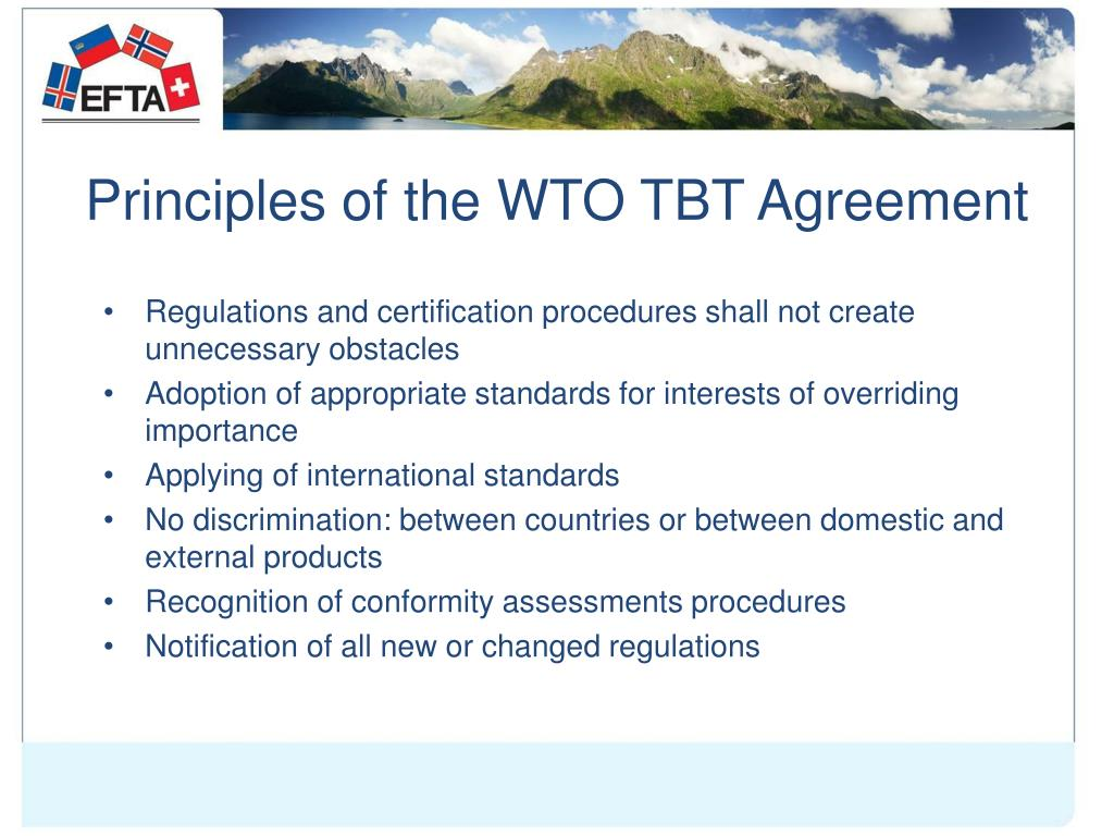 Principles of the WTO TBT Agreement