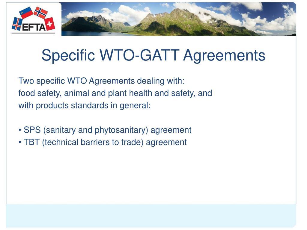 Specific WTO-GATT Agreements