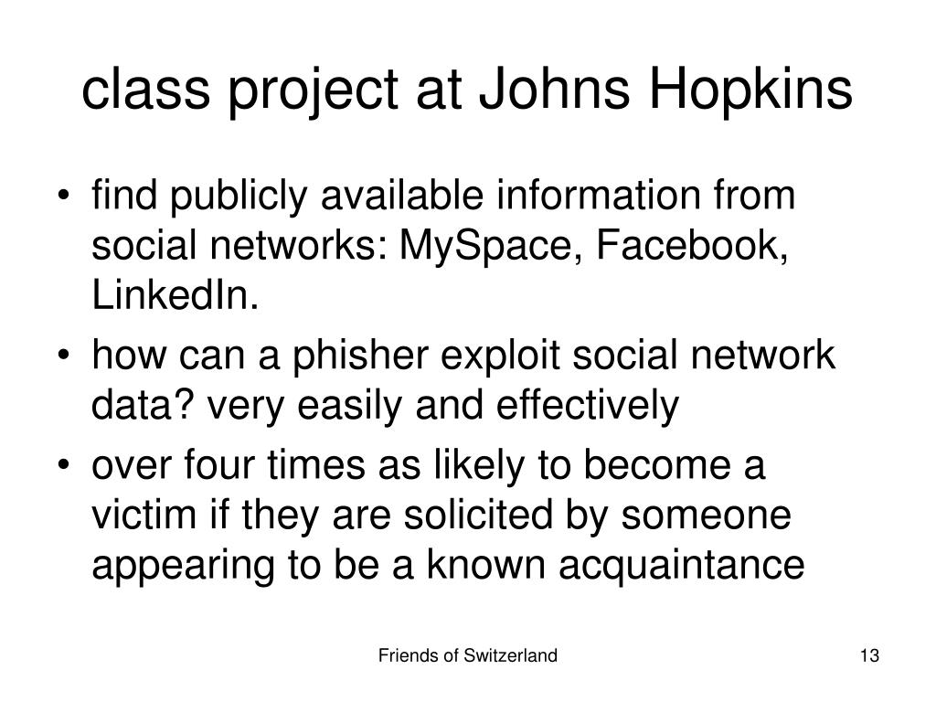 class project at Johns Hopkins