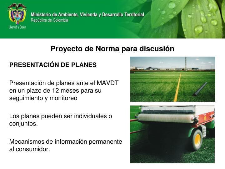 PRESENTACIÓN DE PLANES