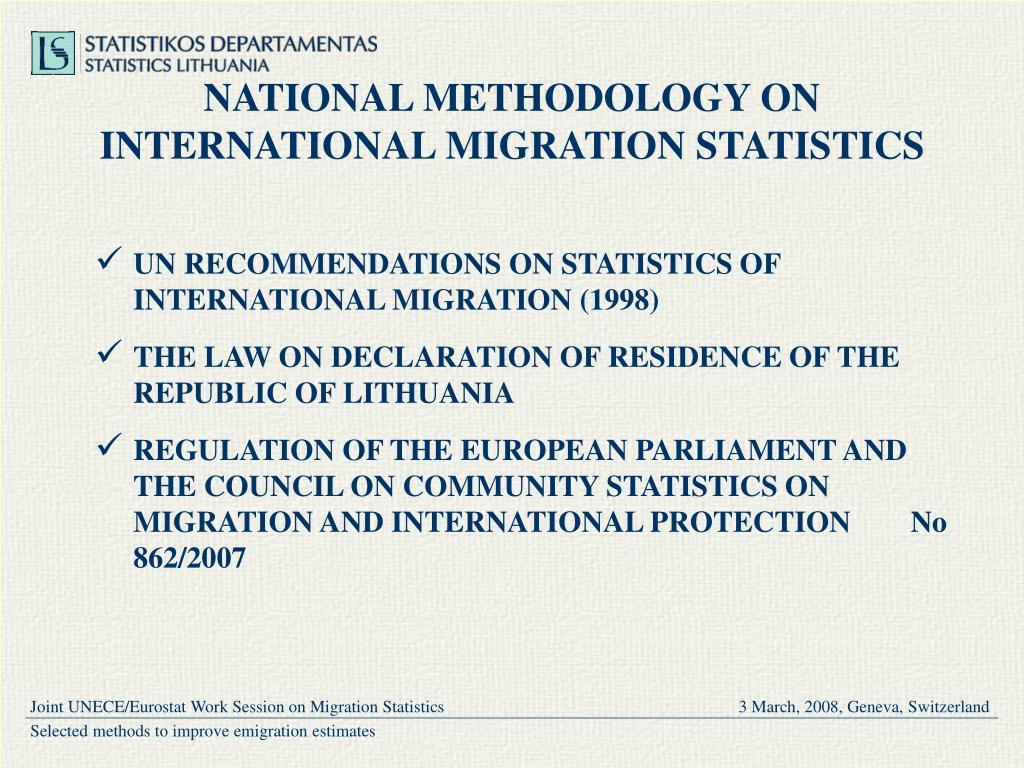 NATIONAL METHODOLOGY ON INTERNATIONAL MIGRATION STATISTICS