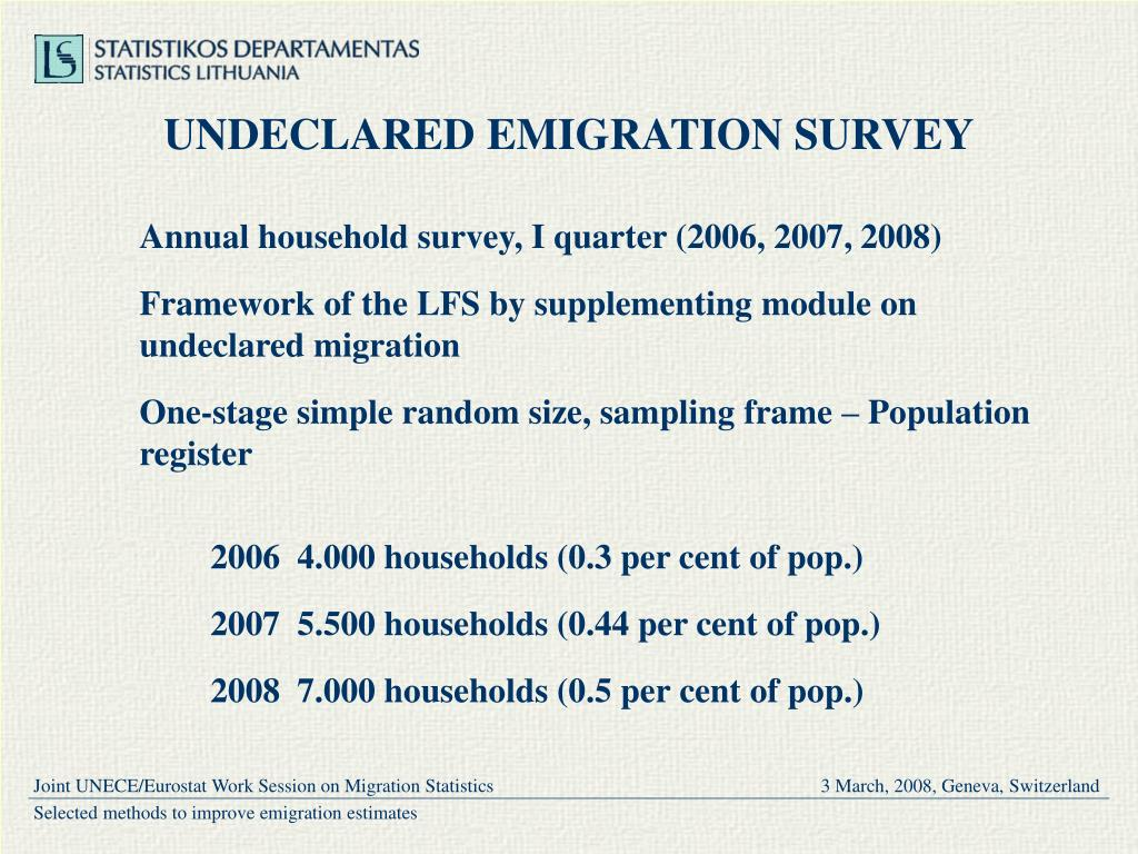 UNDECLARED EMIGRATION SURVEY