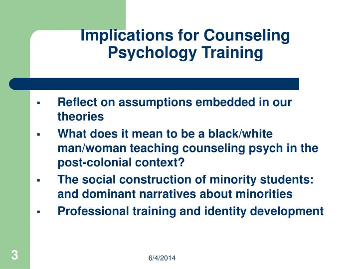 Implications for Counseling Psychology Training