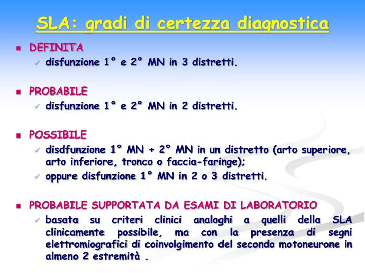 SLA: gradi di certezza diagnostica