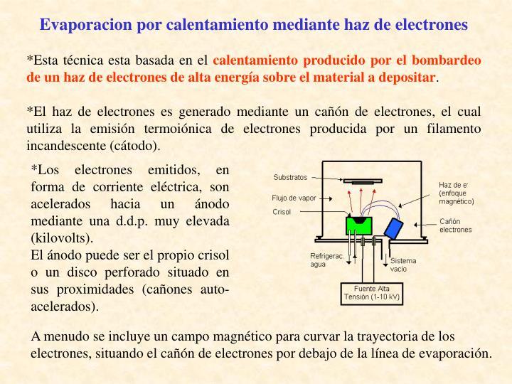 Evaporacion por calentamiento mediante haz de electrones