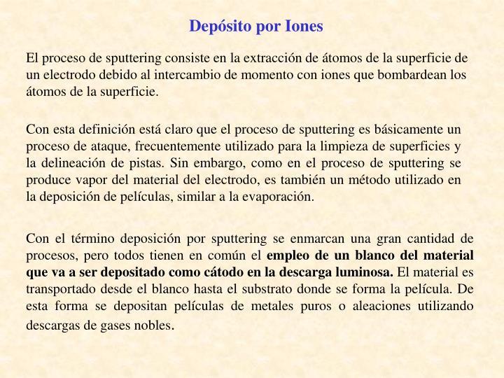 Depósito por Iones