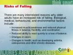 risks of falling