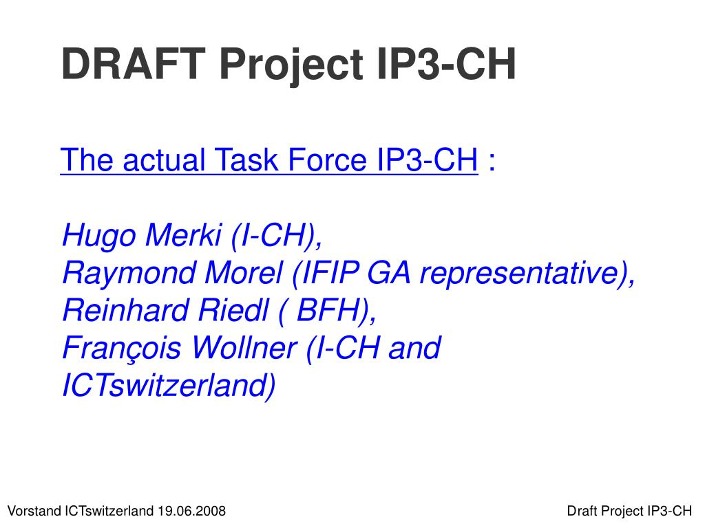 DRAFT Project IP3-CH