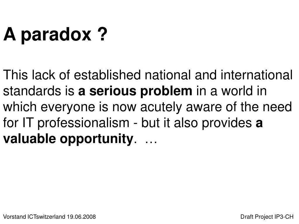 A paradox ?