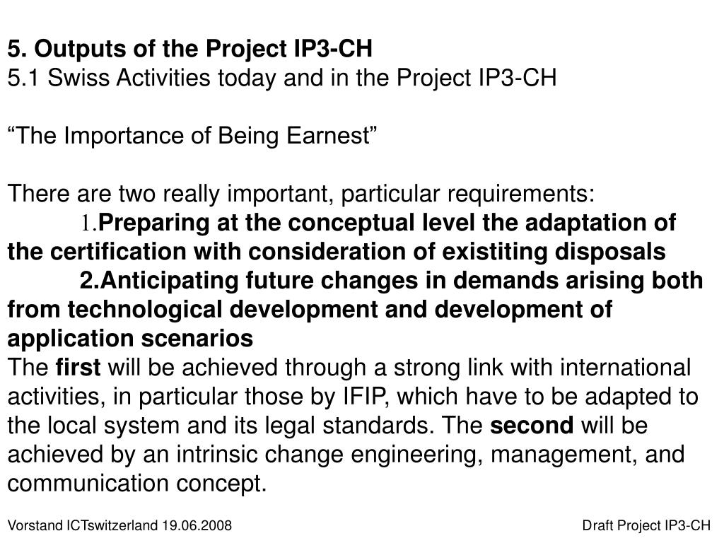 5. Outputs of the Project IP3-CH