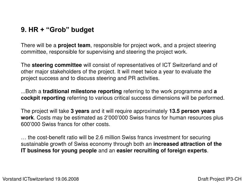 "9. HR + ""Grob"" budget"