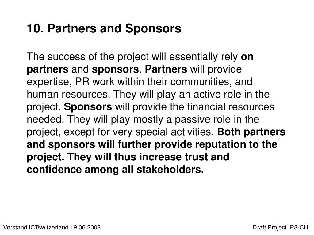 10. Partners and Sponsors