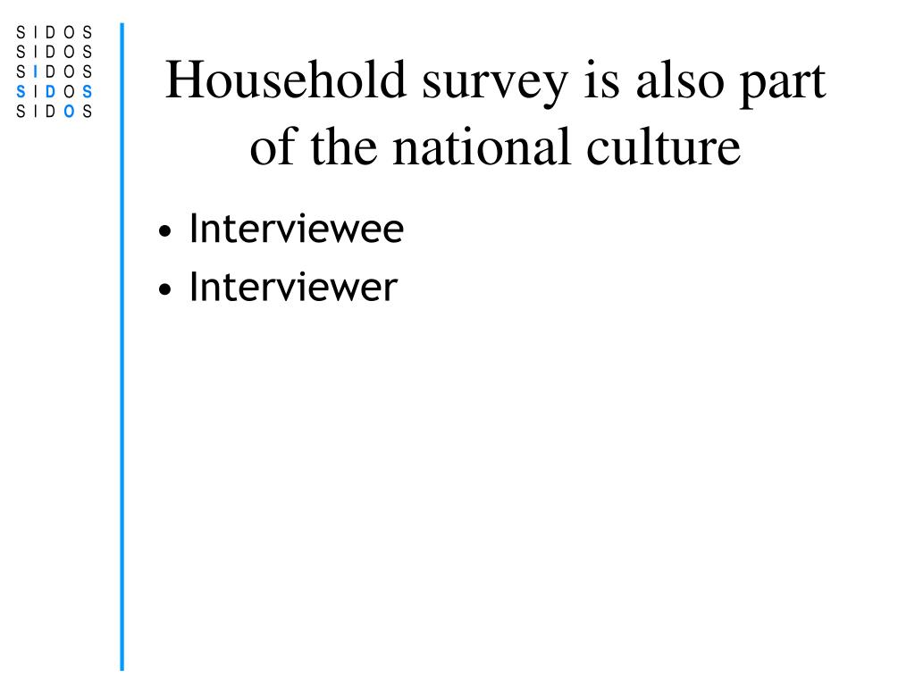 Household survey is also part of the national culture