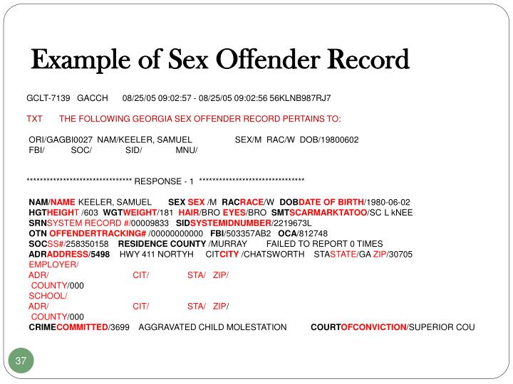 Example of Sex Offender Record