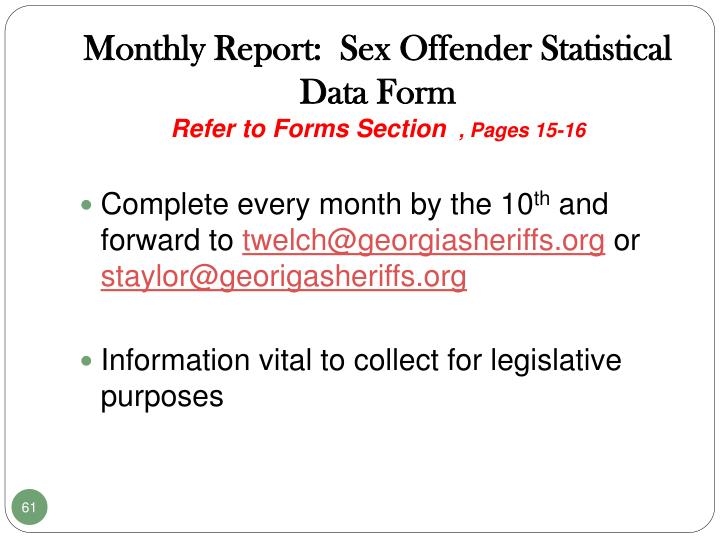 Monthly Report:  Sex Offender Statistical  Data Form