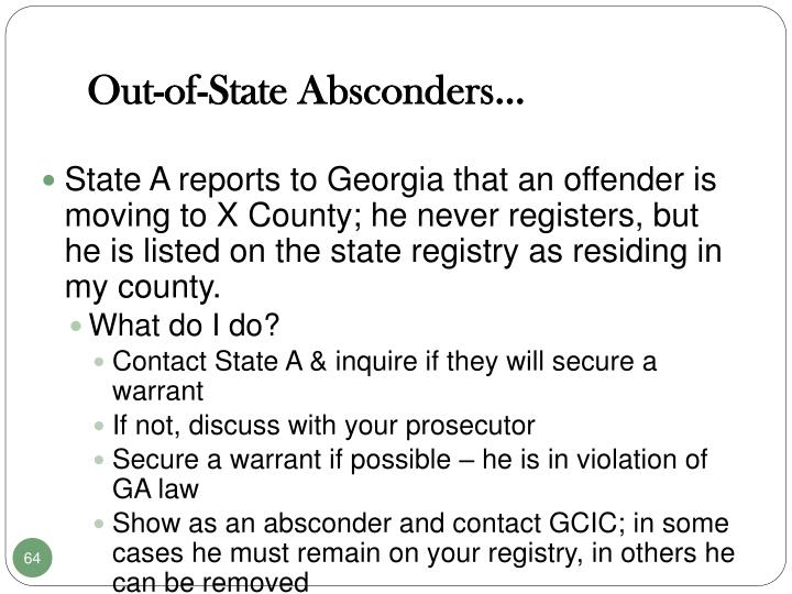 Out-of-State Absconders…