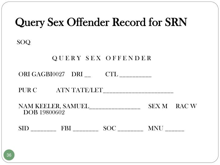 Query Sex Offender Record for SRN
