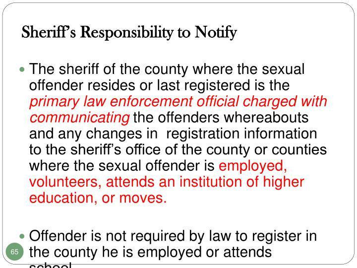 Sheriff's Responsibility to Notify