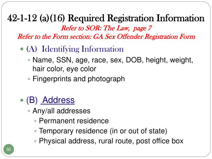 42-1-12 (a)(16) Required Registration Information
