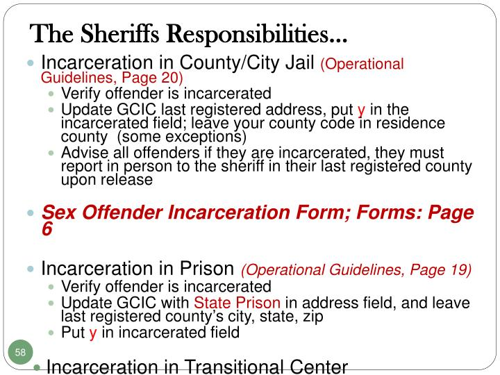 The Sheriffs Responsibilities…