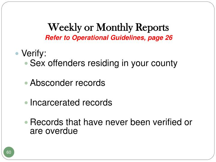 Weekly or Monthly Reports