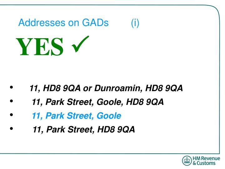 Addresses on GADs(i)
