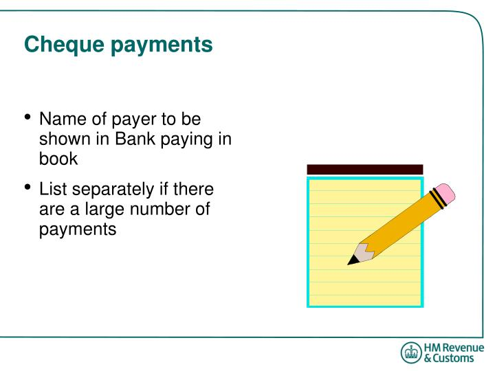 Cheque payments