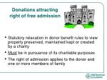 donations attracting right of free admission