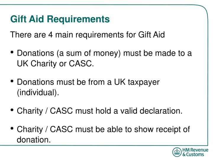 Gift aid requirements