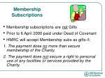 membership subscriptions